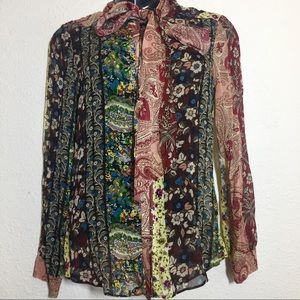 Zara Woman Paisley Wild Print Button Down Blouse